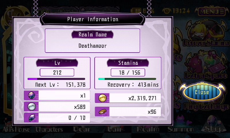 Fallen Princess - Informations du joueur